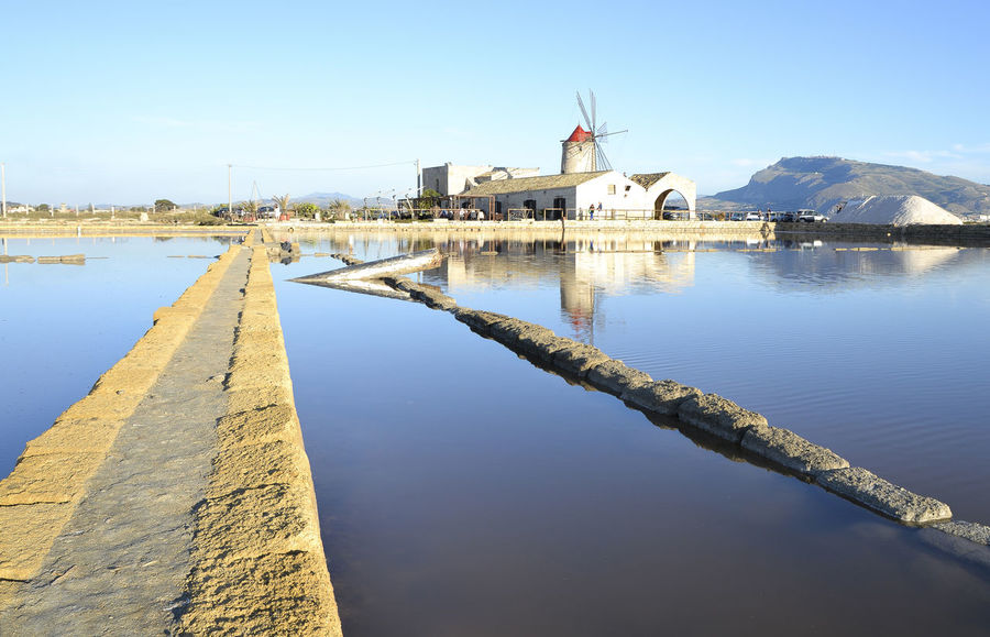 Salt Flats Sicily Trapani Windmills Nubia Reflections In The Water Salt - Mineral Perspectives On Nature