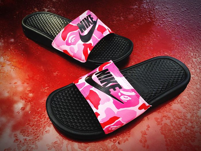 Bathing Ape X Nike Slides Design Shoe Designer Sold Nike Just Do It Slides Bathing Ape Bape Pink Color Camouflage Angelus Paint Acrylic Sneakerhead  Sneakersaddict ArtLife Indigo Artist Zay First Eyeem Photo