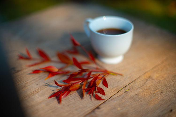 Close-up of orange tea on table
