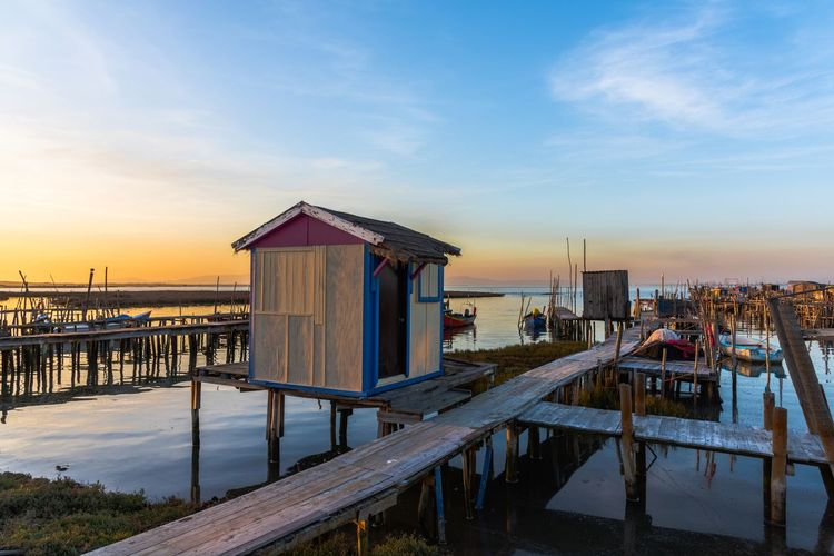 Harbour Pier Por Do Sol Porto Portugal Wood Alcacer Do Sal Architecture Barco Beauty In Nature Boat Cais Carrasqueira Comporta Nature Outdoors Palafitic Palafitico Sea Sky Stilt House Sunset Water Wooden Post
