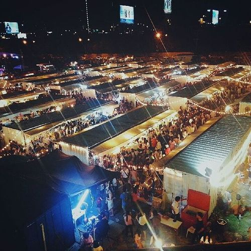 Market City Crowd High Angle View Illuminated Night Night Market Night Market In Thailand Outdoors People