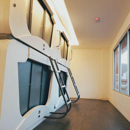 Interior of capsule hotel