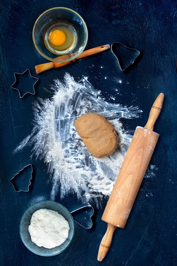 Preparing the Christmas cookies Baking Blue Cake Christmas Cookie Cooking Cute Cutter Dough Enjoying Life Flour Gingerbread Holiday Homemade Ingredients Making Overhead View Preparing Preparing Food Rolling Pin Shape Table Taking Photos Top View Tradition