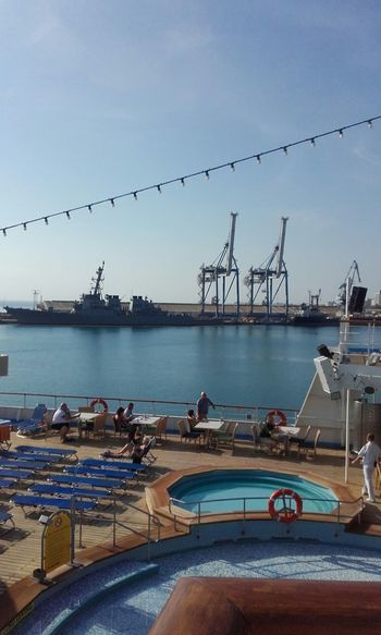 Haifa Port Cruise Ship Deck View Taking Photos Crainspotting. Pool Enjoying Life Travelling Capture The Moment Sightseeing
