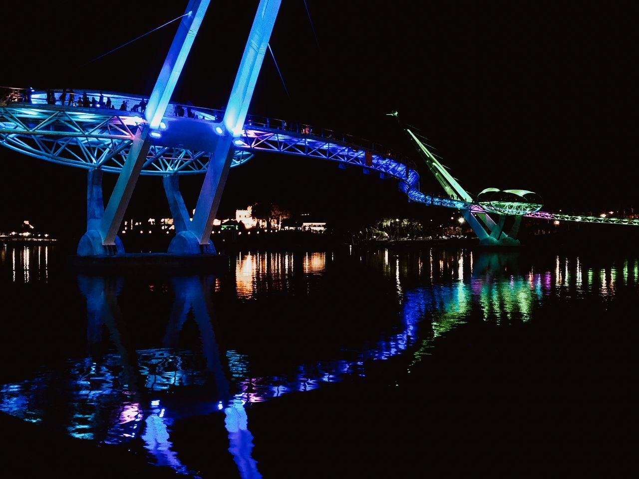 night, illuminated, water, architecture, connection, bridge, reflection, built structure, river, bridge - man made structure, waterfront, sky, no people, nature, transportation, travel destinations, lighting equipment, outdoors, nightlife