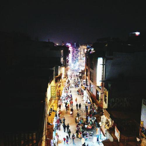 The well-lit path First Eyeem Photo Delhi Delhi Streets Paharganj Night Lights Night Street Streetphotography @cafesam