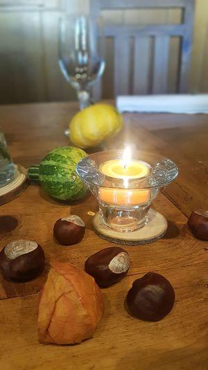 Herbstdeko No Effect No Filter Dekoration Herbstdekoration Kastanien Kürbis Brown Color Table Close-up Tea Light Candle