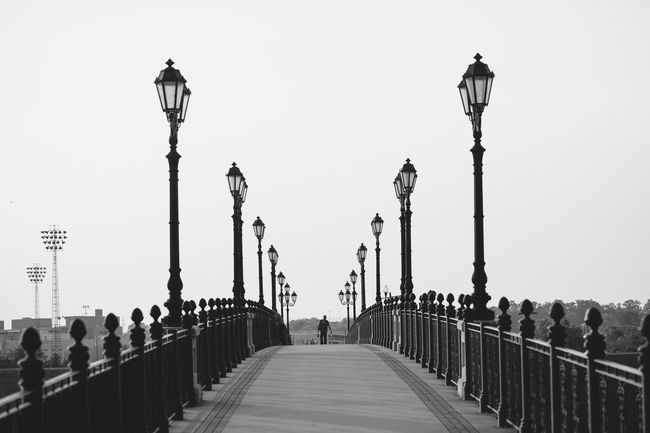 Black And White Blackandwhite Photography Bridge Clear Sky Lightpole Outdoors Sky Street Light Symetricphoto Symmetrical Symmetry The Way Forward Walkway