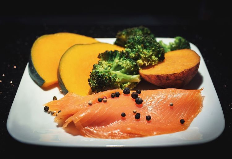 Still Life Pepper Fish Healthy Salmon Food And Drink Food Healthy Eating Freshness Plate Serving Size Ready-to-eat Close-up No People Indoors  Broccoli