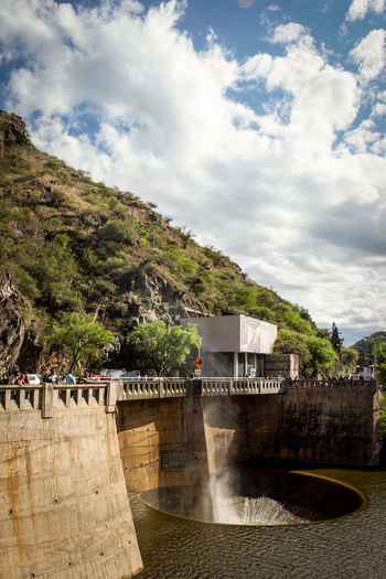 Close-up of the funnel and the wall of the San Roque Dam, located in the city of Villa Carlos Paz, Argentina