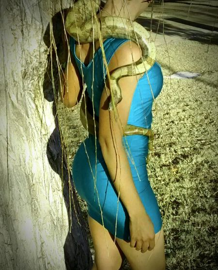 Snakes Reptiles Beautiful Model Animal Photography Exotic Creatures Naughtay Fox Outdoor Photography Nature Photography Snake Handler Exotic Pets Snake Charmer Pets Of Eyeem HogIsland Boa Exotic Animals Reptile Collection Blue Dress Sexywomen Exotic Beauty  Fashion Photography Model Shoot Nature_collection Willow Tree Snake Reptile Love