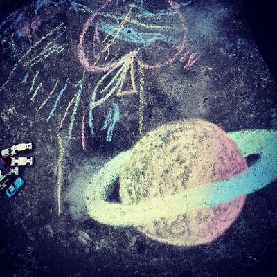 Play time! Fun Chalk HotWheels Sidewalkchalk planet apple doodle
