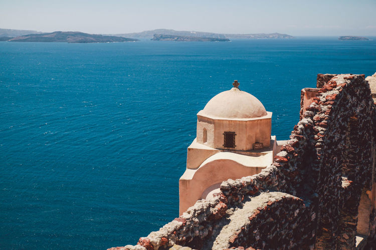Old Church Against Aegean Sea At Santorini