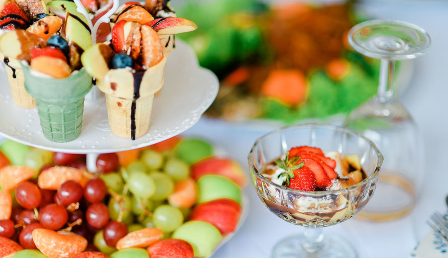 Close-up of fresh fruits in bowl on table