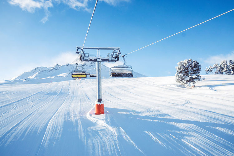 Beauty In Nature Blue Cable Cloud - Sky Cold Temperature Day Frozen Landscape Mountain Nature Outdoors Overhead Cable Car Scenics Ski Holiday Ski Lift Skiing Sky Snow Snowcapped Mountain Sunlight Tranquil Scene Transportation Weather White Color Winter