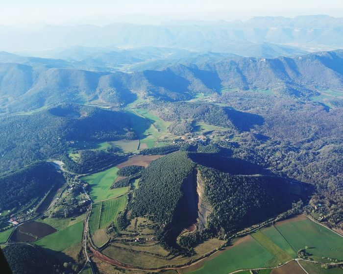 Aerial View Landscape Rural Scene Scenics Outdoors Nature Tranquility Mountain Sky No People Beauty In Nature Tourist Destination Turismecatalunya Catalunyaexperience Catalunya Olot, Spain Garrotxa, Catalonia, Spain Flying Hot Air Balloon Globus Amunt Globus Tourist Attraction  Globos Aerostaticos Globos Globo