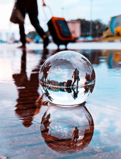 Close-up of crystal ball in water
