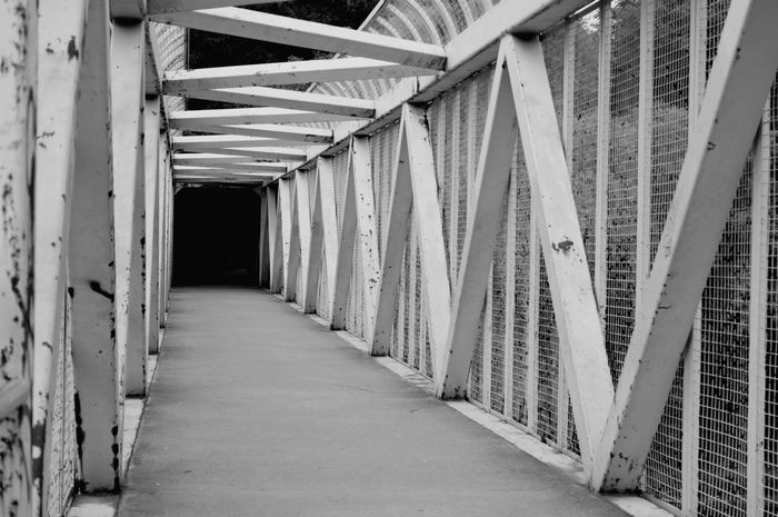 Old bridge. With @juliaharris and@eye4invisible. Bridge Outdoors Black And White Black And White Photography Lines Shadows Patterns Background Objects Of Interest Gray Background Leading Lines EyeEm Selects Corridor Architecture Built Structure Passageway Corrugated Iron #urbanana: The Urban Playground