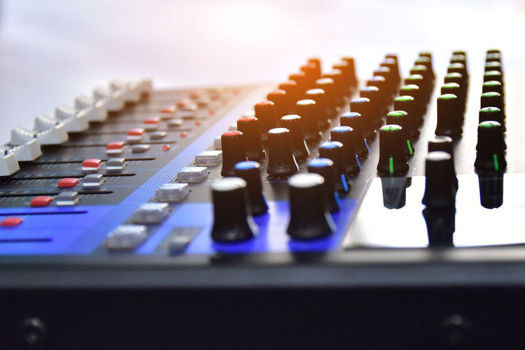 Arts Culture And Entertainment Audio Equipment Close-up Control Control Panel Electric Mixer Electrical Equipment Equipment In A Row Indoors  Knob Mixing Music Musical Instrument No People Recording Studio Selective Focus Sound Mixer Sound Recording Equipment Still Life Studio Technology