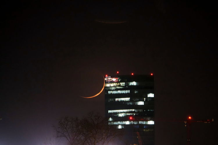 Architecture Building Exterior City Illuminated Low Angle View Moon Night No People Outdoors Sky Tree Welcome To Black
