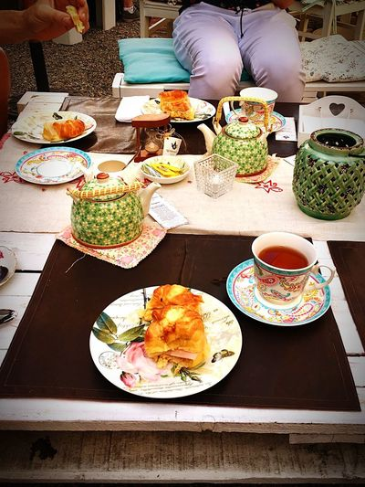 Tea time Outdoors Croisant Tea Plate Food And Drink Table Food Ready-to-eat Freshness Food Stories Food Stories