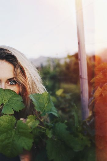 Portrait of woman looking through leaves at vineyard