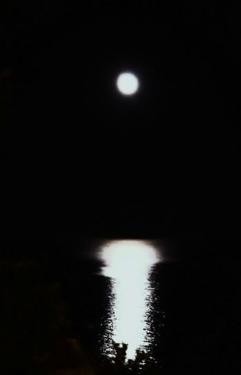 The night ball has escapes again Moonlight Water Sea Night Reflection Blackandwhite