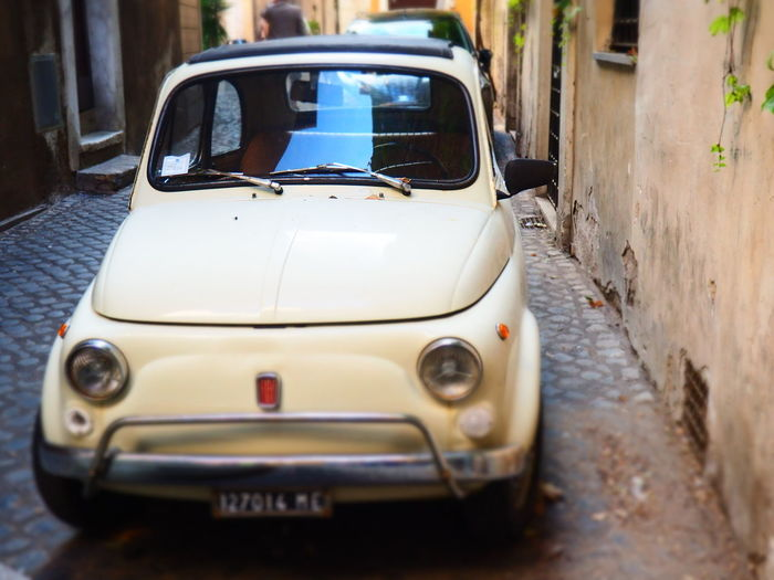 Fiat Roma Alley Car Close-up Day Land Vehicle No People Old Outdoors Street Streetphotography Transportation