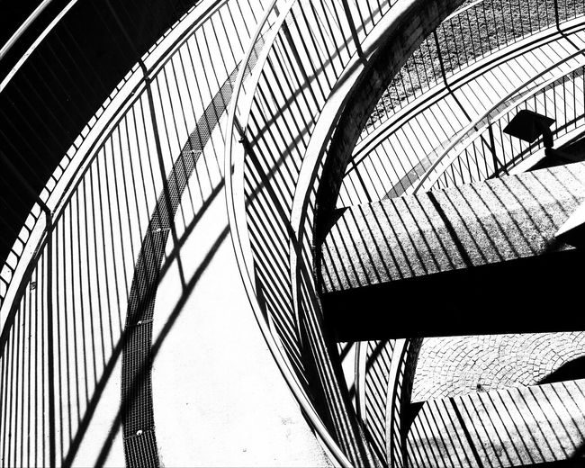Shadowlove Built Structure Architecture Road Street Bicycle Road Railing Transportation Shadows Light And Shadow Lines And Shapes Geometric Shapes Lines No People Day Outdoors Urban Urban Style Streetphoto_bw Bnw Circles Up And Down City Abstractarchitecture Abstractions Black And White Friday The Graphic City