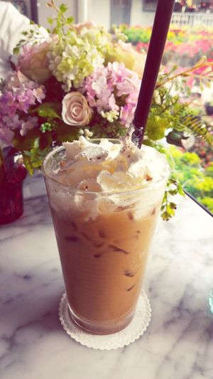 Ice coffee Freshness Drink Drinking Glass No People Close-up Flower Icecoffee Icelatte Icecoffeelatte