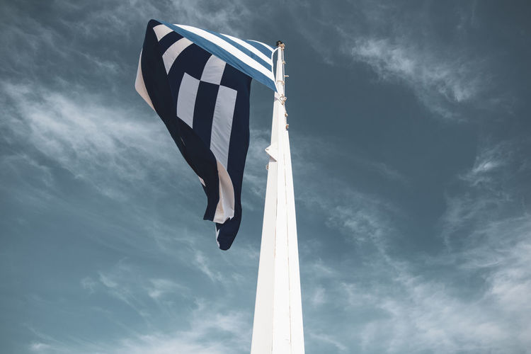 Acropolis Athens Greece Acropolis Cloud - Sky Low Angle View Sky Day Pole Nature Flag No People Wind Communication Outdoors Blue Patriotism Waving Transportation White Color Environment National Icon