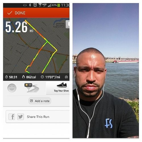Started this mothers day with an early 5mile run and took a selfie at the halfway point. Lol. Nycalive Mothersdayrun NikeRun Run feelinggood healthylife nottobad imgoingtobehurtingtomorrow lol thanks again for the app @nina_m696 now I know how long I'm really running for. Lol