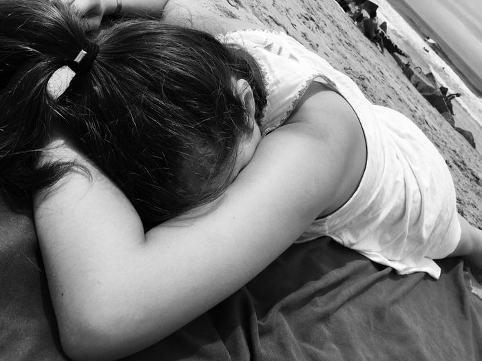 Casual Clothing Close-up Comfortable Cute Daughter Leisure Activity Lifestyles Lying Down On The Beach Relaxation Resting People And Places Monochrome Photography EyeEm TOA 2017
