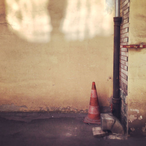 Abandoned Bricks Cone Corner Day Dirt Old Raw Reflection Rugged Sand Sand Color Texture Traffic Cone Urban Urban Geometry Wall