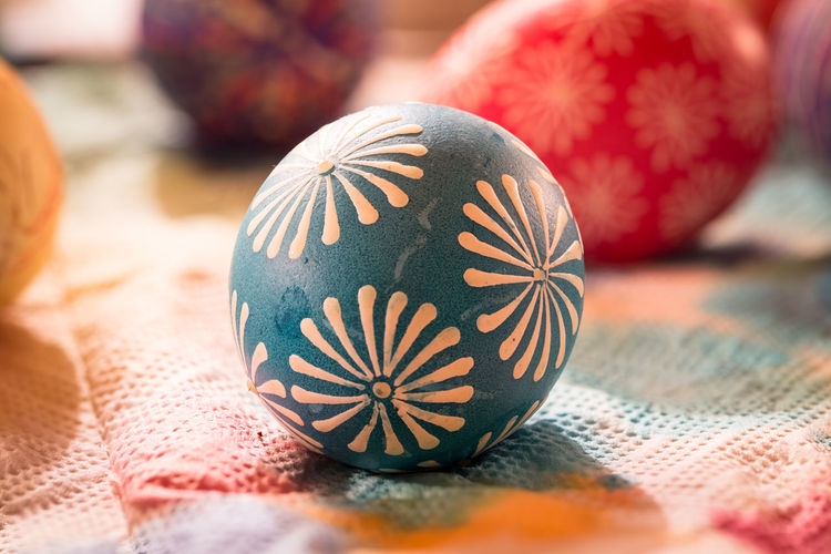 Close-Up Of Easter Eggs On Table