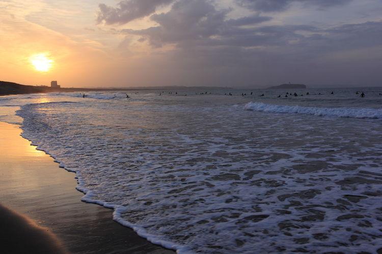 Beach Beauty In Nature Calm Cloud Cloud - Sky Coastline Horizon Over Water Idyllic Mornig Morning Sky Orange Color Sand Scenics Sea Shore Sky Sun Sun Light Sun Light Reflection Sunday Sunday Morning Sunrise Tranquil Scene Water Wave