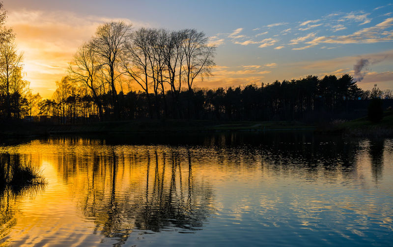 Beauty In Nature Cloud - Sky Lake No People Outdoors Sunset Tranquil Scene Tree