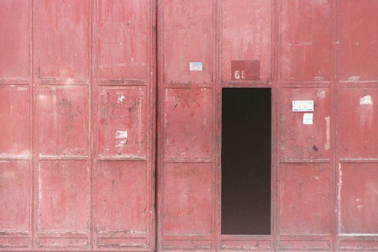 Full frame shot of red mailbox