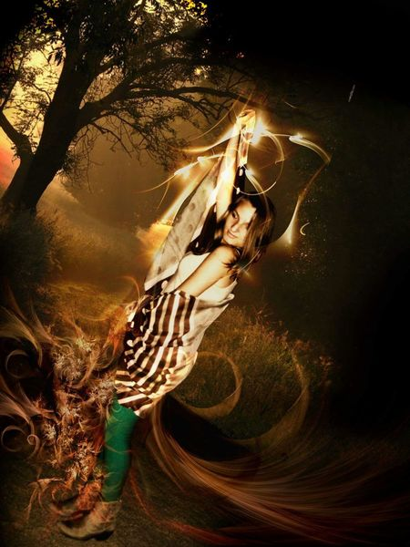 Magic Superpower Night Lights Check This Out Girl Woman People The Dark Forest Lights Light In The Darkness
