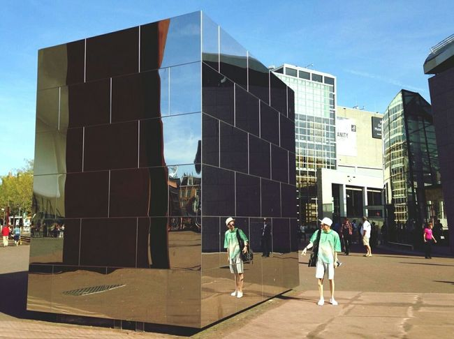 Architecture Mirror Reflection City Amsterdam Museumplein Sunny Building Exterior City Life Person Walking Blue Sky Day Modern Outdoors Built Structure