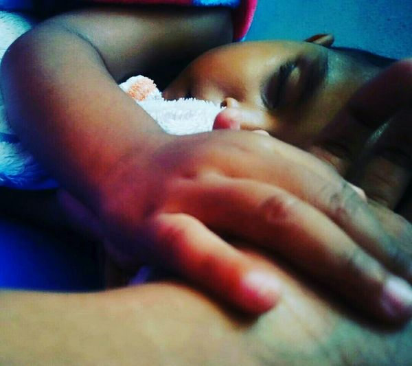 My Son Sleeps His Hand In Mine His Heart Is My Home.