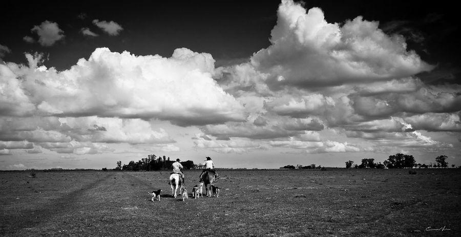 Argentina Photography Beauty In Nature Blackandwhite Photography Campo Argentino Cloud - Sky Friendship Gaucho Argentino Gauchos Hombre De Trabajo Landscape Man And Horse Sky Skyandclouds  Trabajo De Machos  Trabajo Duro Tranquil Scene Vidagaucha
