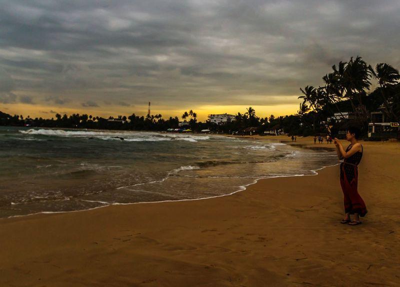 Beach Sunset One Person One Woman Only Tourist Mirissabeach Sri Lanka