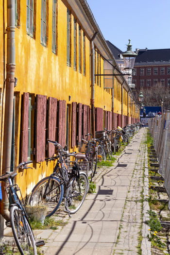 Bicycles parked on street against buildings