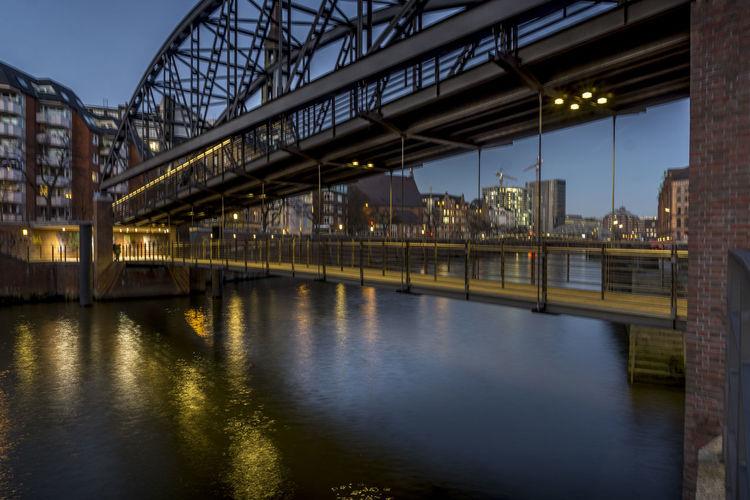 Amburgo Beleuchtung Citta City Deutschland Fiume Fluss Germania Germany Hafencity Hamburg Illumination Illuminazione Inverno River Speicherstadt Stadt Winter