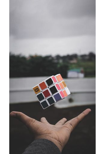 Levitation Pause Fast Shutter Speed Human Hand Flag Holding Sky Close-up Cards Autumn Mood