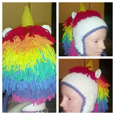 Crochet Unicorn Beanie Made By Me