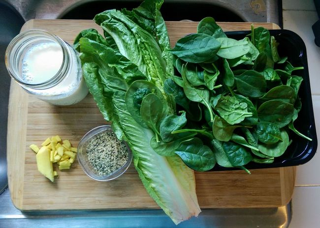 Ingredients for this morning's Organic Vegetable Smoothie it's a Big Change after years of Fruit Smoothies Ginger Root Unsweetened Almondmilk Romaine Lettuce Baby Spinach Hemp Seeds yes, its an Aquired Taste ! Goodmorning EyeEm  Healthy Eating Aloha