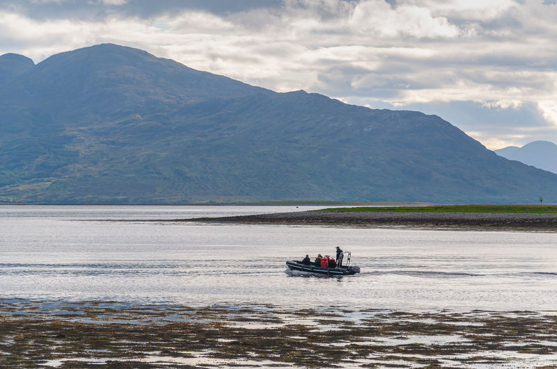 Boat sailing in the loch diuch, scotland