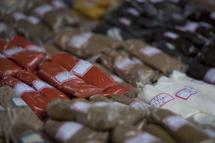 Spices stall Close-up Day Food Food And Drink Freshness Healthy Eating Indoors  Large Group Of Objects Market Market Stall No People Price Tag Retail  Selective Focus Spices Spices Of The World